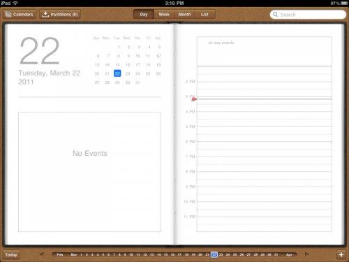 iPad 2 календарь