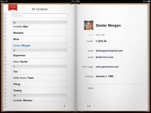iPad 2 контакты