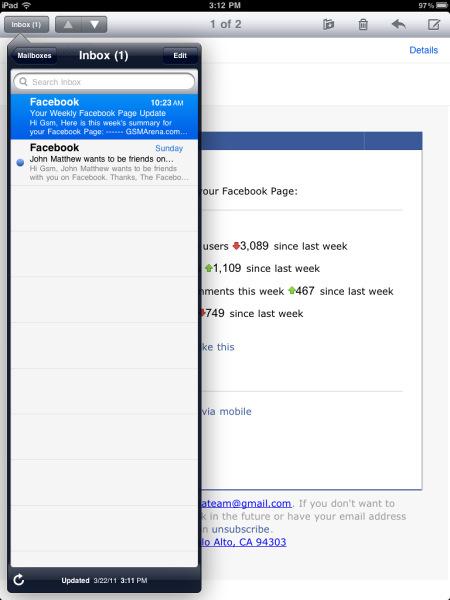 iPad 2 почтовый клиент